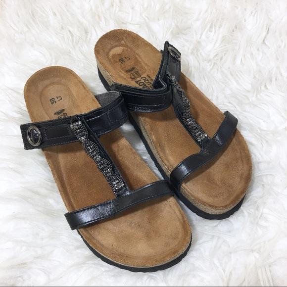 Naot Malibu Sandal Black Madras Leather 38 / 7